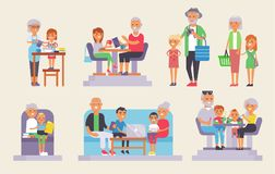 Old grandpa and grandma and yound kids children people group of european generations man and woman old and young people vector illustration