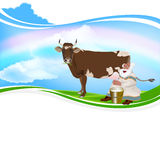 Old Grandpa milkman. And a cow royalty free illustration
