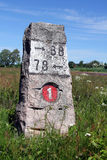 Old Granite Milestone Roadside Landscape Royalty Free Stock Images