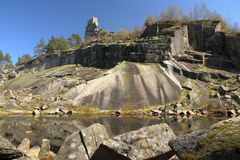 Old granite quarry and castle ruin Royalty Free Stock Images