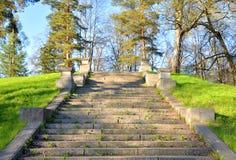 Old granite stairs in the park. Old granite Trident ladder in Mariental Park in Pavlovsk, near St. Petersburg, Russia Stock Photos
