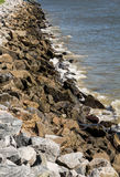 Old Granite Stone Seawall Stock Photo