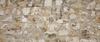 Old Granite Stone Wall With Cement Seam, Stonework Wide Backgrou Royalty Free Stock Images