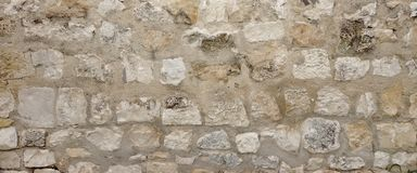 Old Granite Stone Wall With Cement Seam, Stonework Wide Backgrou Stock Photography
