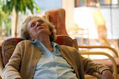 Old granny relaxing. A great grandmother close up. Woman in her nineties Stock Photography