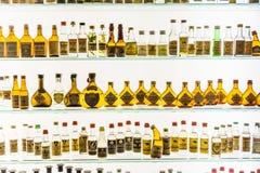 Old Grappa bottles in a Grappa Museum in Bassano del Grappa Stock Photo