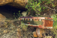 Old grave abandoned on a cave forest Stock Photography