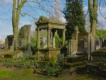 Old grave monuments in Westerbegraafplaats cemetery, Ghent royalty free stock image
