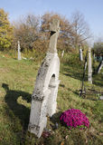 The old grave on rustic slovak cemetery Royalty Free Stock Photography