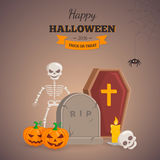 Old grave and spooky skeleton. Royalty Free Stock Photography