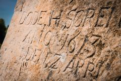 Old grave stone on Bornholm Stock Images