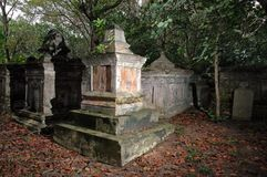 Old Grave Yard. Protestant cemetery dating from 1789, final resting place of Penang's European pioneers such as Francis Light and early governors of Penang Royalty Free Stock Image