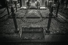 Old graves in a cemetery royalty free stock images