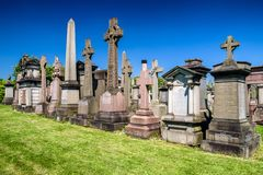 Old graves at Glasgow Necropolis - Victorian cemetery, Scotland stock images
