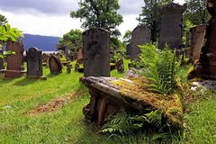 Old graves and gravestones in a cemetery in Scotland.  Stock Photo