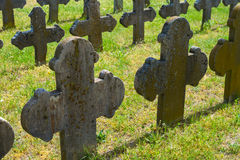 Old graves headstones and crucifixes Royalty Free Stock Photo