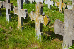 Old graves headstones and crucifixes Royalty Free Stock Photos