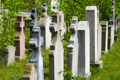 Old graves headstones and crucifixes Stock Images