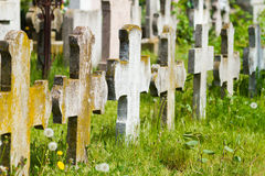 Old graves headstones and crucifixes stock image