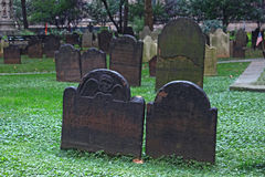 Old gravestones in America. Old gravestones in New York, USA Royalty Free Stock Photos