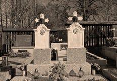 Old gravestones. Beautiful old gravestones on the cemetery in ochre tones, Prazmo, Czech Republic Stock Photo
