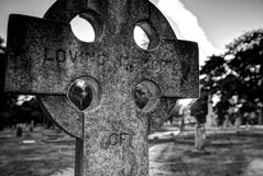 Old gravestones in black and white, Ross Bay Cemetery, Victoria Royalty Free Stock Photo