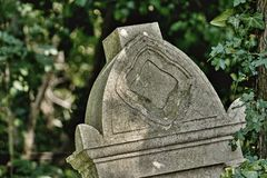 Old gravestones - detail. Old gravestones in an old cemetery. Photographed in Slovakia royalty free stock photography
