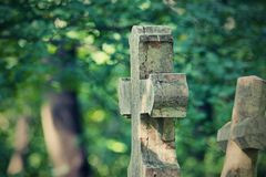 Old gravestones - detail. Old gravestones in an old cemetery. Photographed in Slovakia stock image