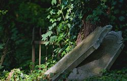 Old gravestones - detail. Old gravestones in an old cemetery. Photographed in Slovakia stock photo