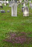 Old gravestones in rural countryside cemetery Royalty Free Stock Photography