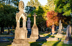 Old gravestones at sunset, Ross Bay Cemetery, Victoria, BC, Canad Stock Photography