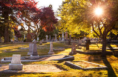 Old gravestones at sunset, Ross Bay Cemetery, Victoria, BC Stock Photography