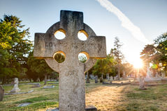 Old gravestones at sunset, Ross Bay Cemetery, Victoria, BC Royalty Free Stock Photos
