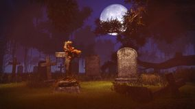 Old gravestones under big full moon. Abandoned spooky cemetery under big full moon. Realistic 3D illustration was done from my own 3D rendering file Royalty Free Stock Images