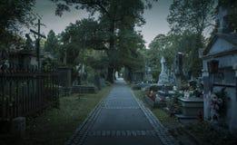 Free Old Graveyard At Night Stock Image - 126724941
