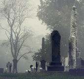 Old Graveyard. Fog settling into an old graveyard Stock Photography