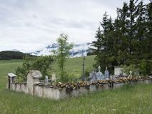 Old graveyard in french region of haute provence. Old countryside graveyard in french region of haute provence near barcelonnette royalty free stock photo