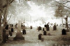 Old graveyard in Jamestown Cape Cod in Infrared Stock Photo