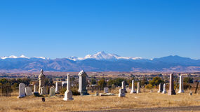 Old Graveyard with View of Mountains Royalty Free Stock Photography