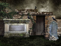 Old graveyard with vines Royalty Free Stock Photo