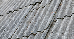 Old gray corrugated fibre cement roofing Stock Images