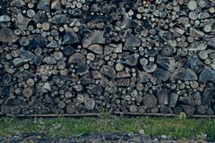 Old and gray firewood stack Royalty Free Stock Photos