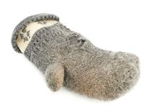 Old gray frayed mitten isolated Stock Images
