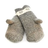 Old gray frayed mitten isolated Royalty Free Stock Photography