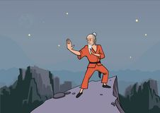 Old man, master of martial arts practicing wushu in the mountains. Vector illustration. Old gray-haired man, master of martial arts practicing wushu in the Royalty Free Stock Photography