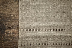 Old gray linen napkin Stock Images