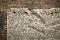 Old gray linen napkin Stock Image