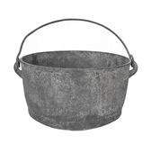 Old gray metal cooking pot isolated. Royalty Free Stock Images