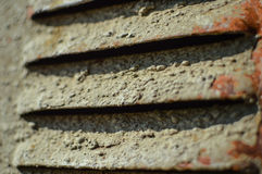 Old gray metal ventilation grille. Closeup fragment Royalty Free Stock Photo
