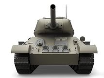 Old gray military heavy tank - front view closeup shot stock illustration
